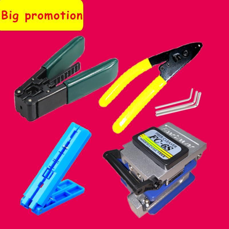 Equipamento de fibra óptica 6 pçs / set FTTH Ferramenta Kit Cleaver FC-6S Miller Braçadeira CFS-2 Fio Strippter Pilers Retrato de Comprimento Fixo