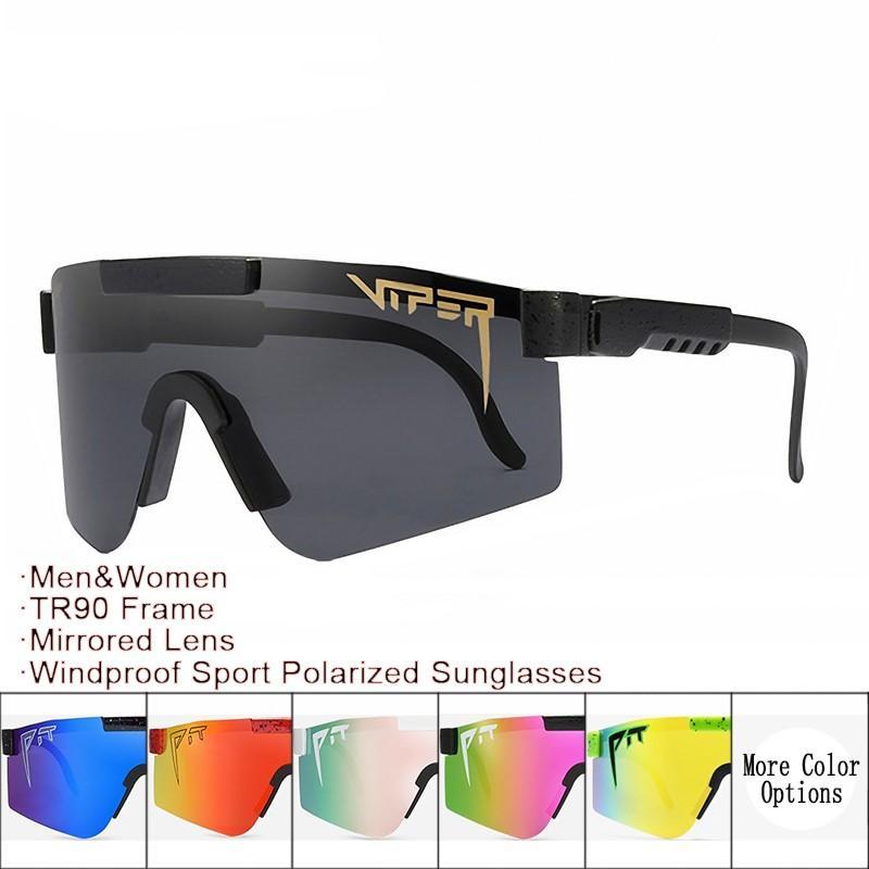 구덩이 바이퍼 선글라스 도매 및 dropshipper TR90 프레임 미러 렌즈 windproof 스포츠 남자 여자 편광 태양 안경 포장