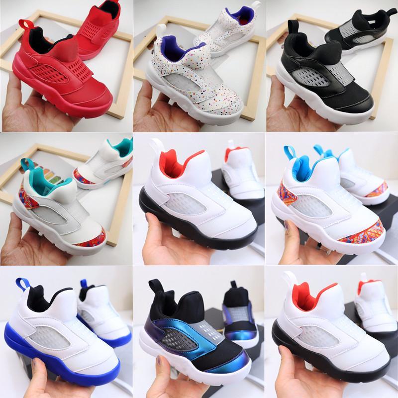 Toptan kaliteli ürünler çocuklar 5 s ateş kırmızı gümüş dil erkek kız spor ayakkabı beyaz mavi kırmızı bebek toddler ayakkabı rahat koşu ayakkabıları