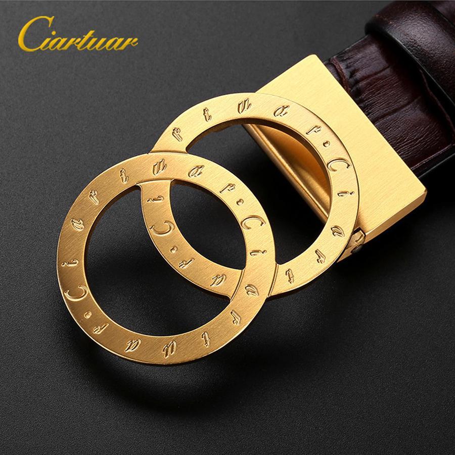 Ciartuar حزام جديد جودة عالية للرجال النساء للجنسين جلد طبيعي الطبقة الأولى luxury الذهب الشظية مشبك شحن مجاني 201124