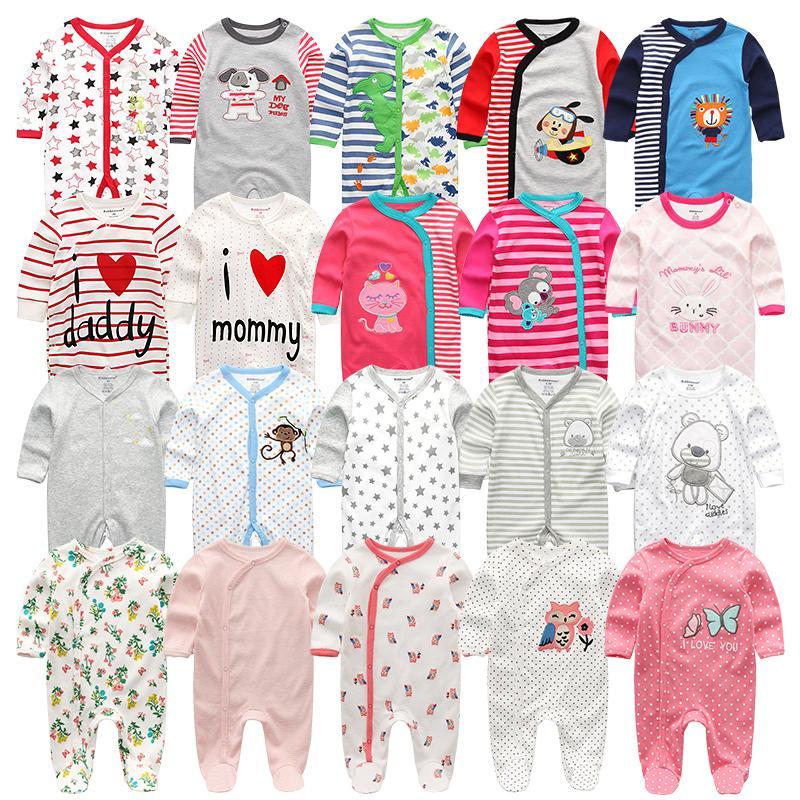 3 4 pz / lotto estate baby boy roupa de bebes tuta neonato manica lunga manica in cotone pigiama 0-12 mesi pagliaccetti abbigliamento bambino 201009