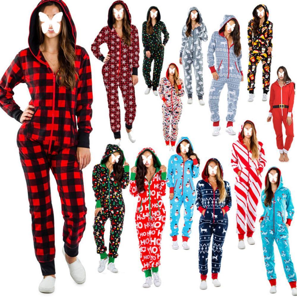 Женщины Ночная рубашка Рождественские Напечатанные Пижамы Счастливый Отдых тонкий Сексуальный Хэллоуин Домашний Носить Дом Длинные Рукава Комбинезоны Взрослые Длинные Брюки Зима Ly93