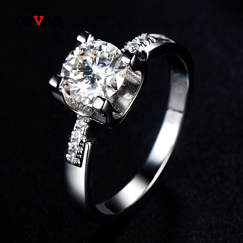 1 Carat Lab Grown Moissanite Anelli di nozze per le donne di alta qualità 925 sterling argento di fidanzamento Party gioielli gioielli regali