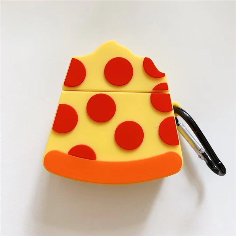 3D bonitos acessórios de pizza fone de ouvido para Apple Airpods 1 2 Geração Silicon Proteger Capa Para Airpods Keychain 100 pcs