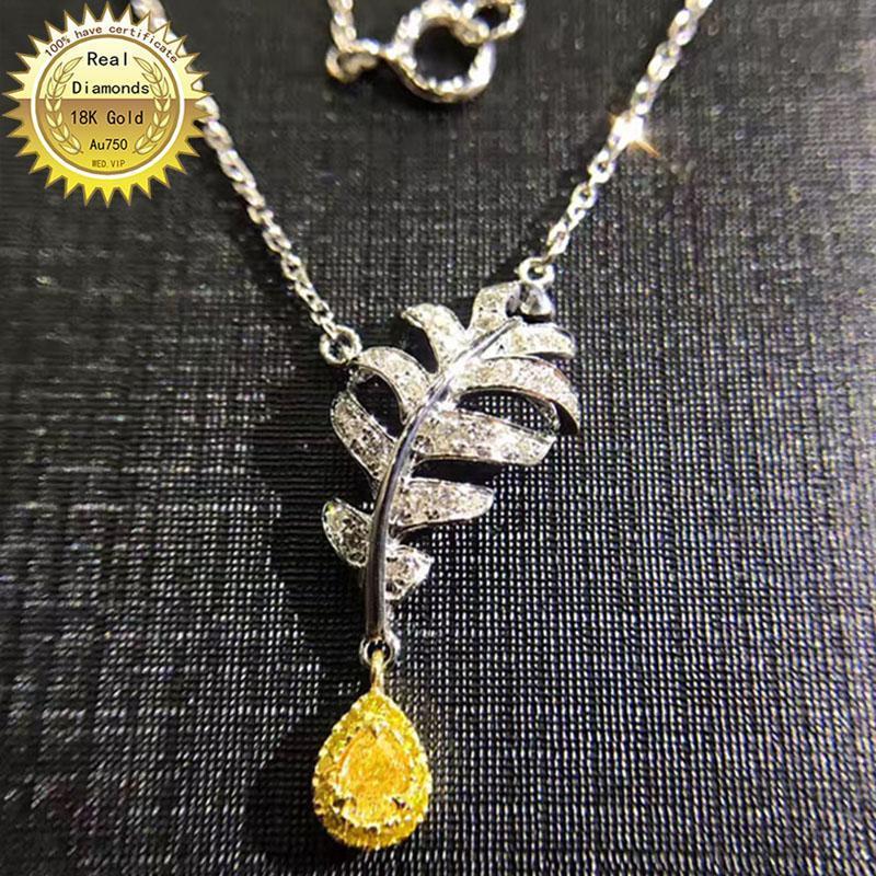 Ketten 18 Karat Gold Halskette natürlich 0,2ct Gelb Diamant und 0,21ct weiße Diamanten