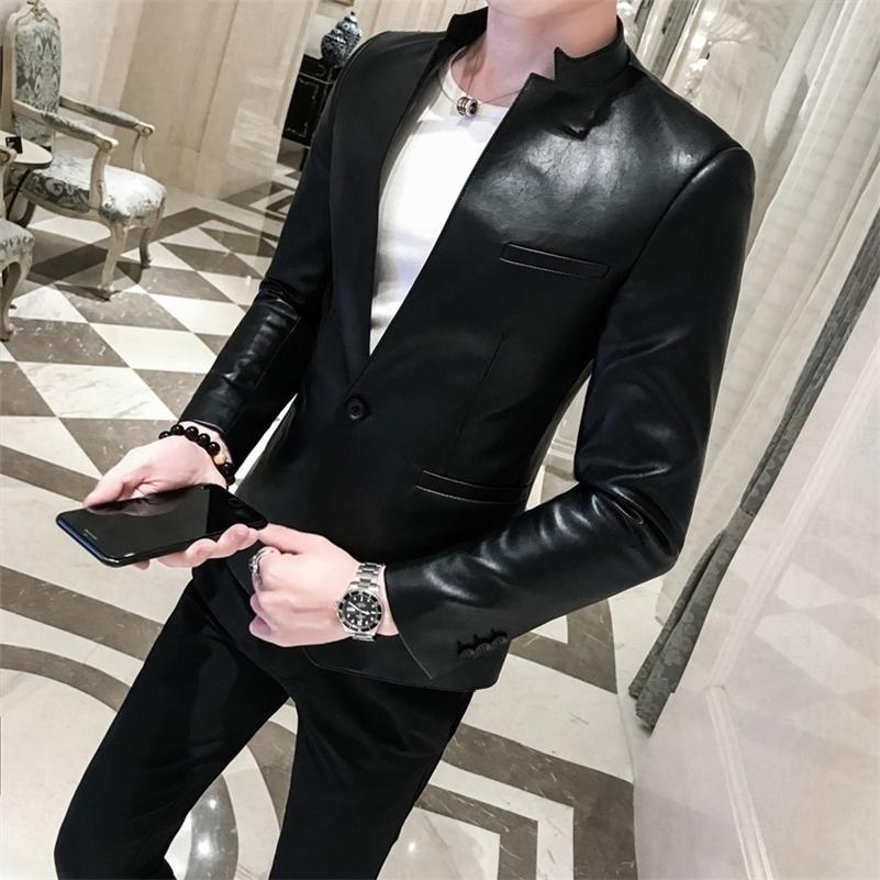 Katı Siyah Slim Fit Blazer Hombre PU Deri Ceket Erkekler Bir Düğme Iş Casual Balers Erkekler için Kore Suit Ceket LJ200907