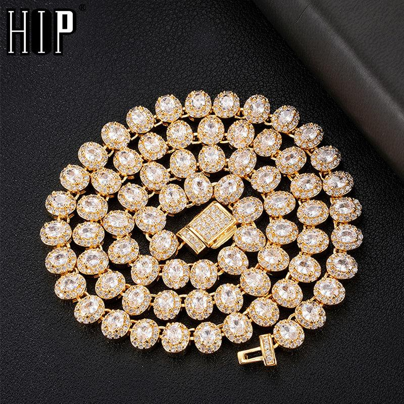 Hip Hop 7mm Blingced Out out Oval Box Пряжка CZ Медная настройка AAA + Cubic Zirconia Камни цепи Ожерелье для мужчин Женщины JewelryQ0115