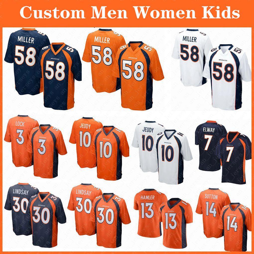 58 von Miller DenverKundenspezifische Männer Frauen Kinder BroncoFußball-Trikots 10 Jerry Jeudy 30 Phillip Lindsay 3 Drew Lock 55 Chubb 14 Sutton