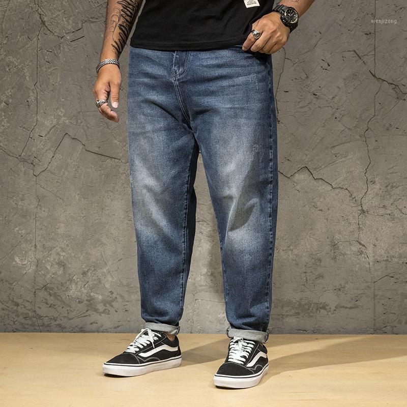 2021 Pantalones vaqueros sueltos clásicos Hombres Pantalones largos Talla grande 44 46 Mid Cintura Primavera verano Pantalones de mezclilla Denim Smart Casual Jean Blue, 2161