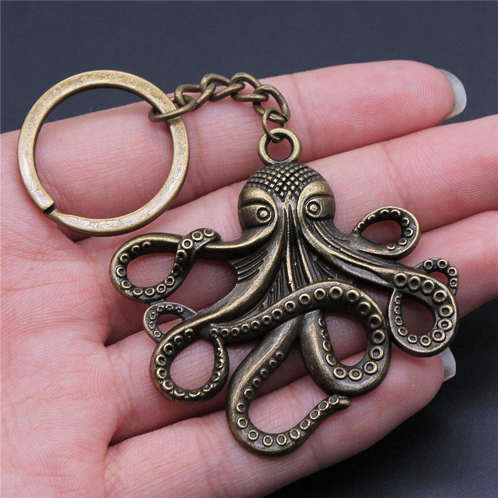 2 Piezas Llavero Tortuga Y Octopus Llavero Moda Venta Caliente Anillo Llavero Llavero Coche