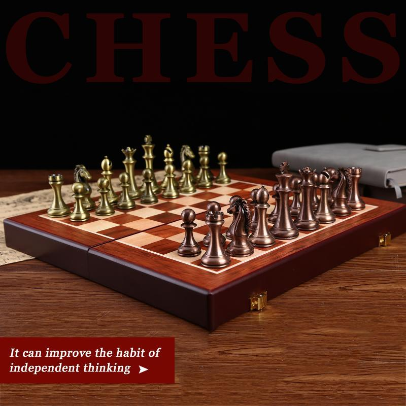 3 em 1 banda de madeira de madeira conjunto de xadrez de madeira Kit de metal para crianças adulto jogo de quebra-cabeça crianças presentes de aniversário