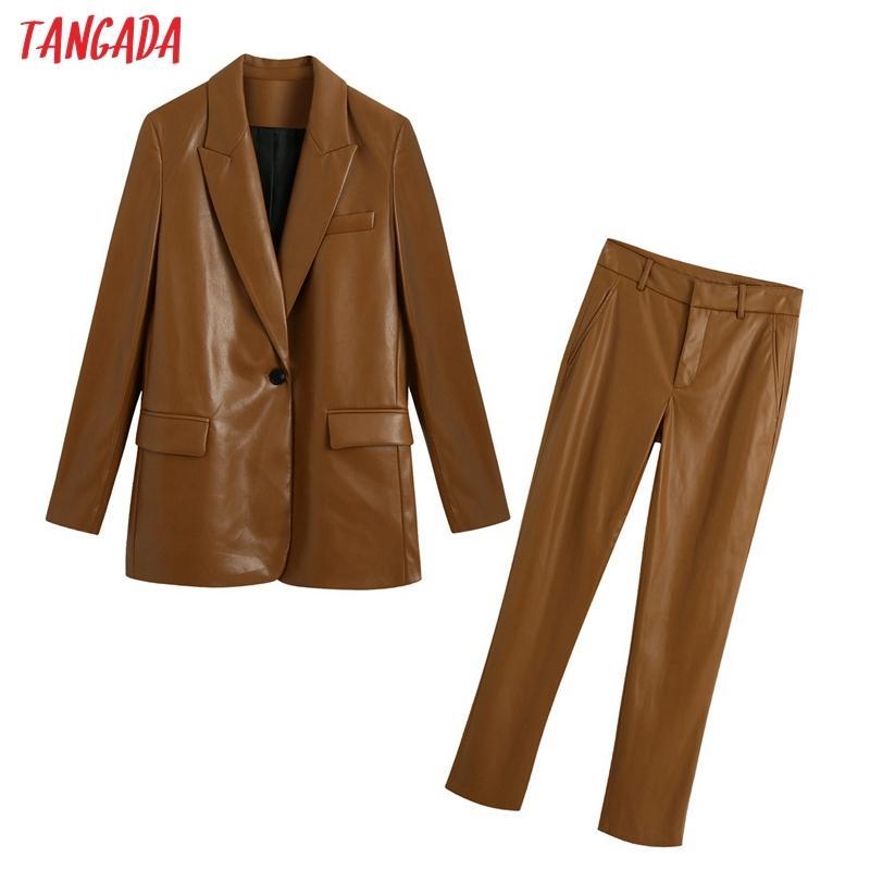 Tangada 2020 Costume en cuir Faux massif Femmes Ensemble 2 pièces Veste col cranté Femme Femme Pantalons Blazer Ensembles Be125