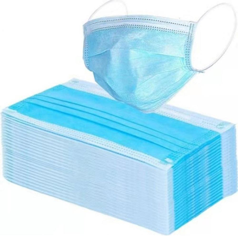 Elastic Ear Face Stock!Disposable Masks In 3 Loop Ply Breathable And Comfortable For Blocking Dust Air Pollution Protection PackA1X6