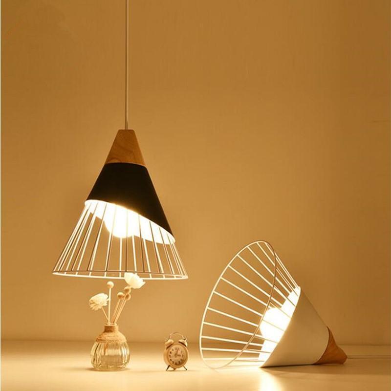 펜던트 램프 일시 중단 된 등기구, 현대 나무 조명 금속 그림자 화이트 / 블랙 레스토랑 바 카페 거실 다이닝 룸 Nordic Pendan