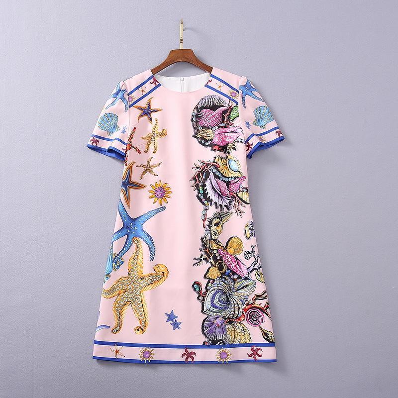Plus Size Dress Dress 2021 Primavera A Line Abito a manica corta Prom Fashion Crew Collo Pink Perline Flora Stampa Brand Stesso stile Yimi
