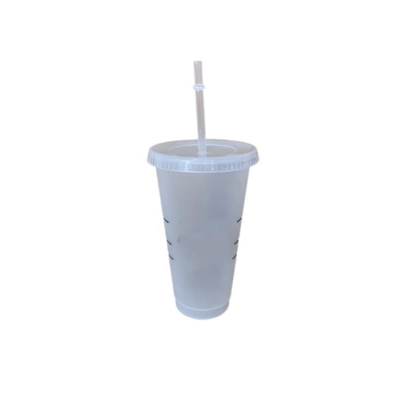 24oz / 710ml Clear Star Cups Geada Plástico Canecas com Tampa e Coffe De Palha Ao Ar Livre Tumblers Portátil Nova Chegada G2