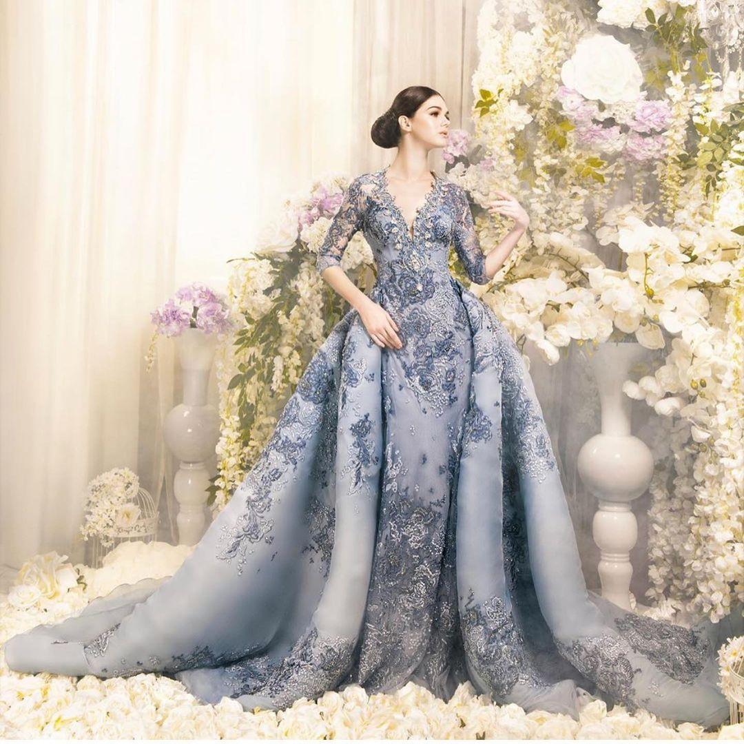 Wunderschöne Perlen Meerjungfrau Prom Kleider mit abnehmbarer Zug Tief V-ausschnitt halbe Ärmel Spitze Abendkleider Appliqued Tüll formelles Kleid