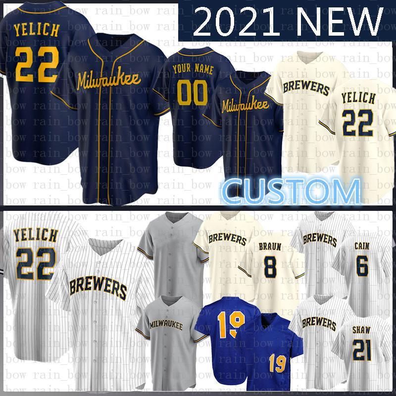22 Christian Yelich 2020 NUEVO Jersey de béisbol Hernan Pérez 19 Robin Yous 6 Lorenzo Caín 8 Ryan Braun Travis Shaw Keon Broxton Eric Thames