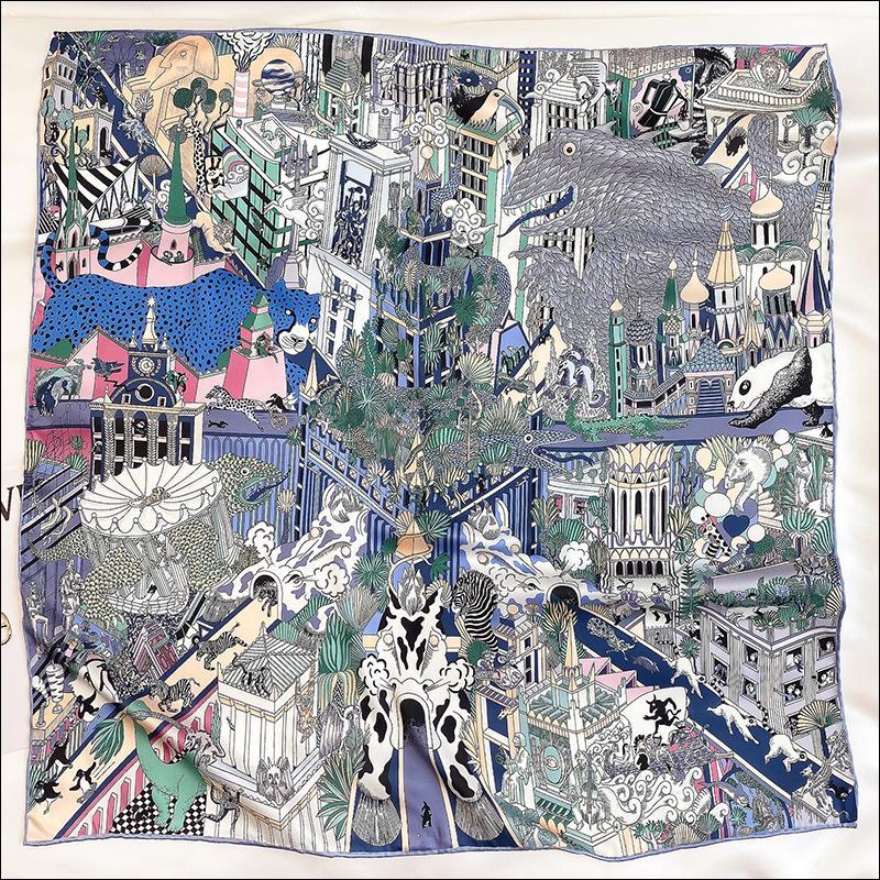 """Écharpe à col de soie foulard foulard de soie foulards pour femme laminée à la main Écharpe 90 Foulard Luxe """"animapolis"""""""