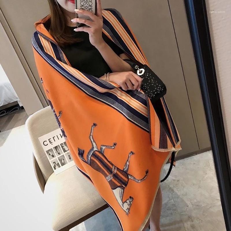 Зимний двухсторонний шарф женский кашемировая теплые ломарные леди роскошные лошади шарфы густые мягкие шали wraps1