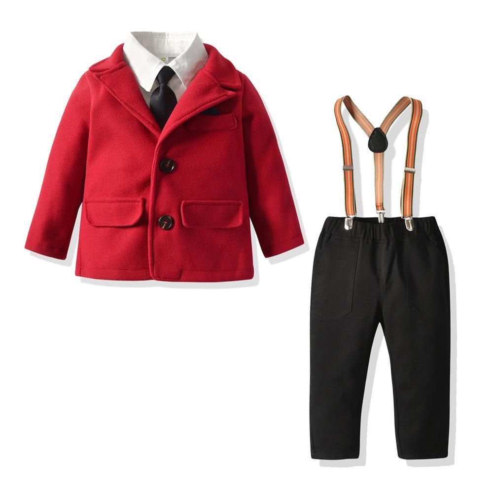 Moda Boys Noel kıyafetler çocuklar Kravat uzun kollu gömlek + kırmızı yün blazer paltoları + pantolon 3adet setleri çocuk askı beyefendi setleri A5105