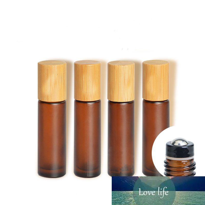 10ml Mattes Bernsteinkosmetisches Glas Ätherisches Öl Serum Container Matte Braun Rolle auf Parfümflasche Bambus Deckel Makeup Zubehör