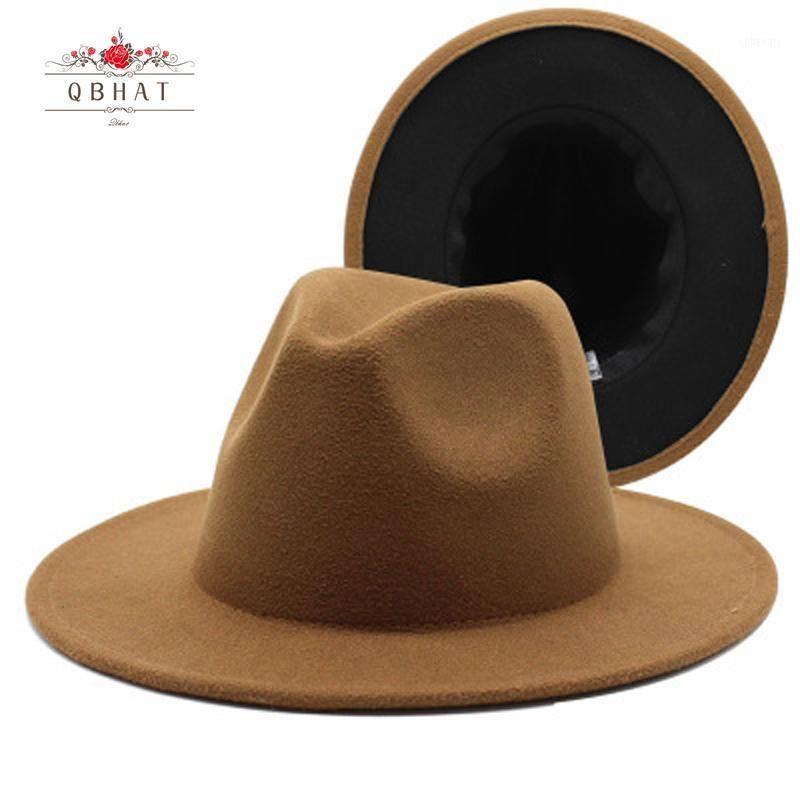 Qbhat High-Q Faux Wool Felt 2 tono di diverso colore largo orme da uomo da uomo fedora cappello marrone patchwork rosso patchwork jazz partito cappello formale1