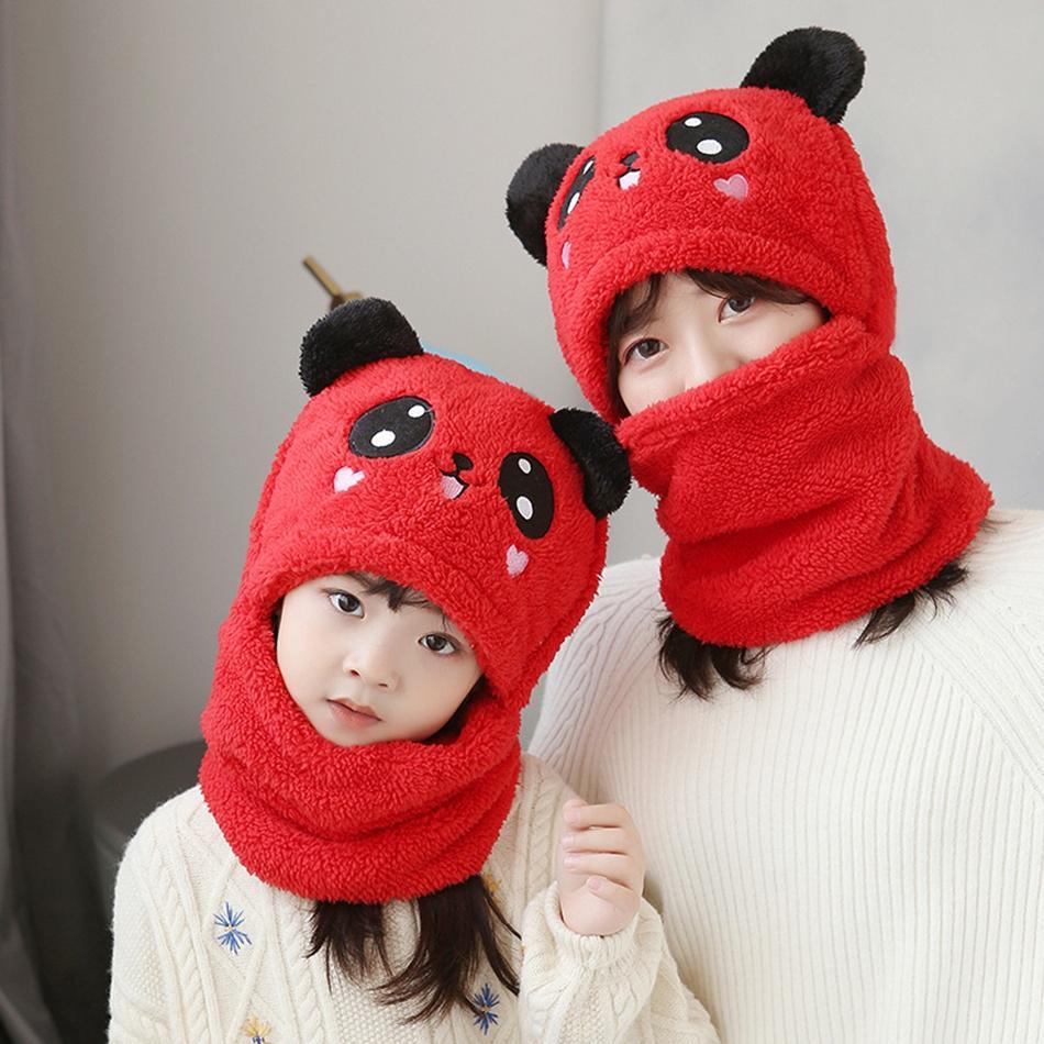 Дети взрослого зимы плюс бархат теплый панда шляпа шарф мальчик девушка 2 в 1 утолщение лыжная кепка шеи теплый шарф шляпа kka8299