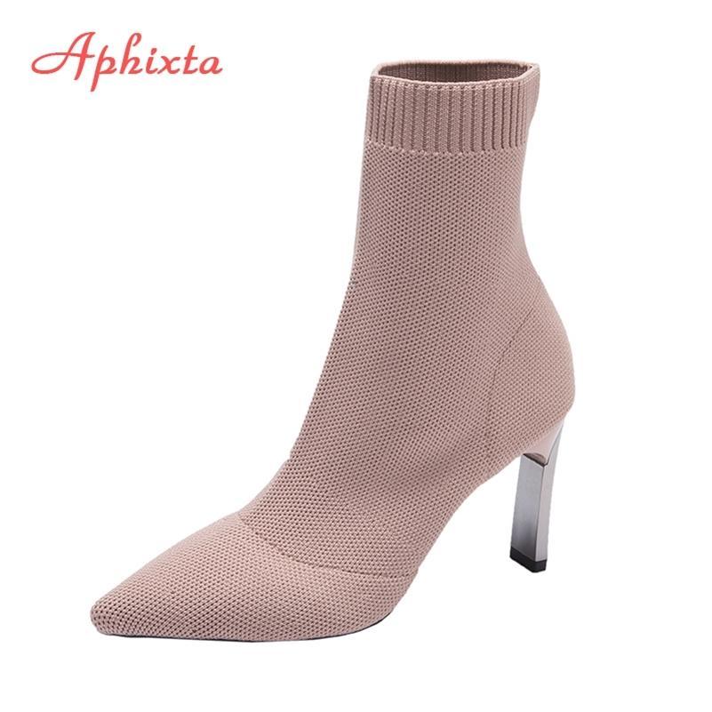 Aphixta Metallklinge Fersen Socken Stiefel Frauen Stretch Stoff Elastische Stilettos Ferse Spitze Zehen Knöchelstiefel Schuhe Frau Boote LJ201214