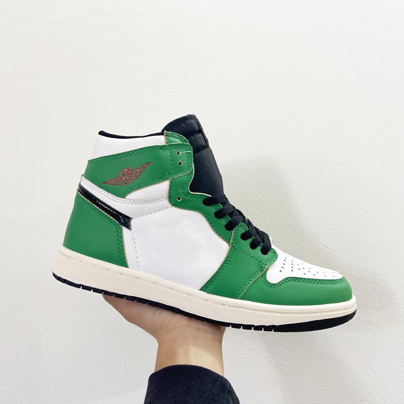 1S Jumpman 1 OG Высокий счастливый зеленый белый черный баскетбол спортивная обувь 1S кроссовка 63-точечный игровой размер US5.5-11 тренеров обувь