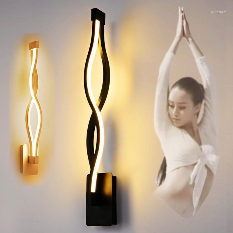 Lampada da parete a spirale a LED Soggiorno camera da letto decorazione della parete della camera da letto lampada a led 16w bianco nero paralume montati lettura del comodino