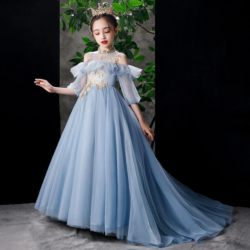 Tailling flor menina vestido lantejoulas sem ameia longo robe meio vestido de bola de gola alta para festa de aniversário