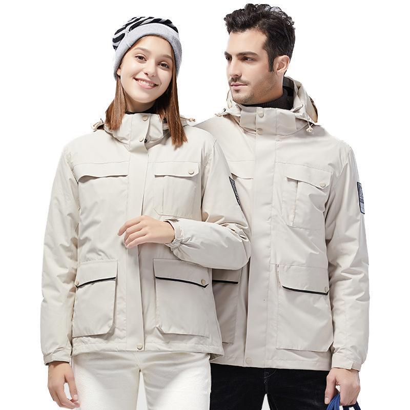 chaqueta para hombres 3 en 1 Invierno desmontable abajo de engrosamiento de la marea al aire libre de la marca de la ropa de la ropa de la resistencia a prueba de frío abrigo de mujer