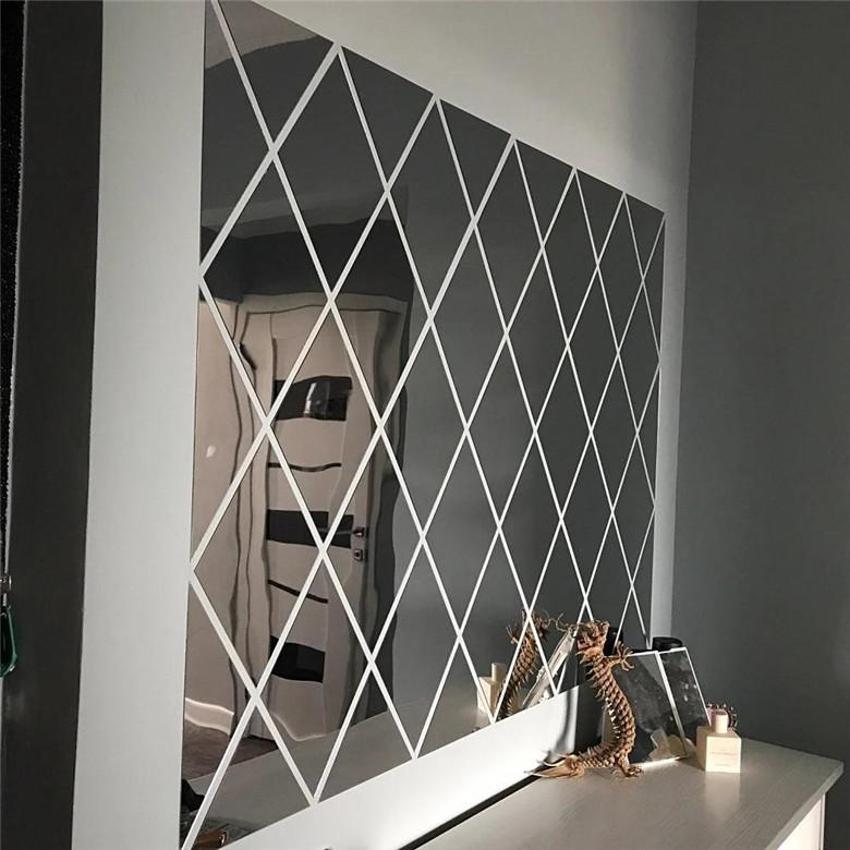 17/32/58Pcs DIY 3D Mirror Wall Stickers Diamonds Triangles Acrylic Wall Mirror Stickers for Kids Room Living Room Home Decor