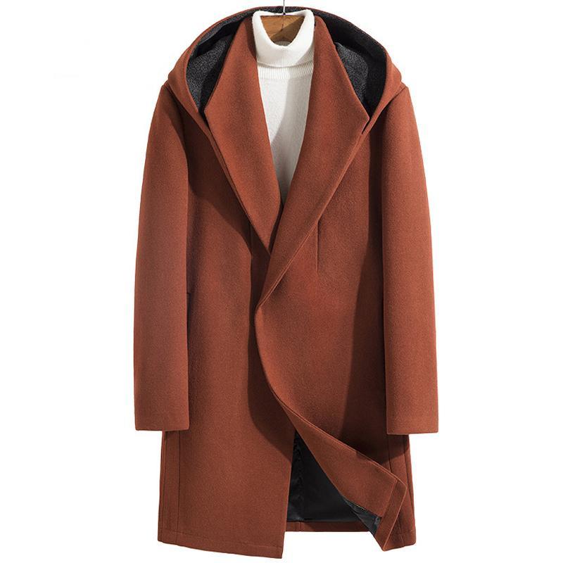 Thoshine бренд зима 34% шерсти кашемировые мужчины толстые пальто с капюшоном классический поворот воротник мужская мода шерстяная смесь куртки траншеи y1205