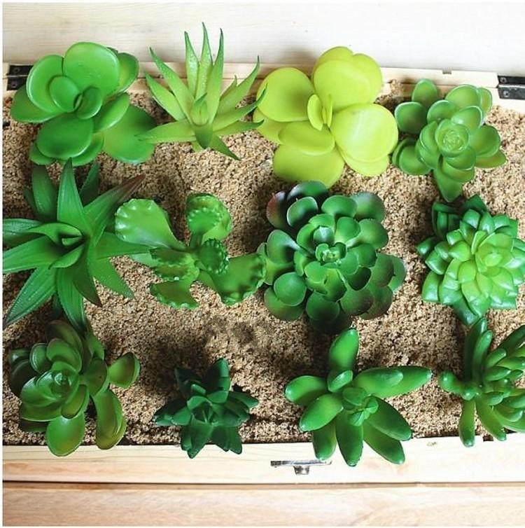 Zakka Simulation Office Mini plantes en pot Succulents verts DIY Home Fairy Jardin Décoration de jardin Fournitures 20pcs / Lot