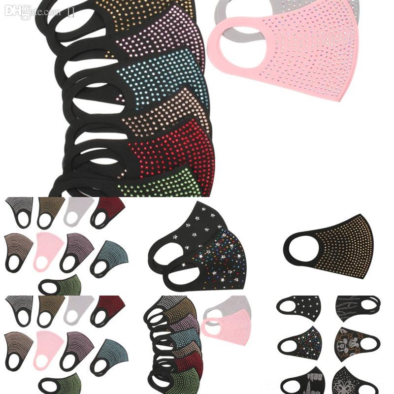 598B CottonSel Tasarım Lüks Bling Rhinestone Kadınlar Için Yeni Maske Siyah Takı Gece Kulübü Dekorasyon Kristal