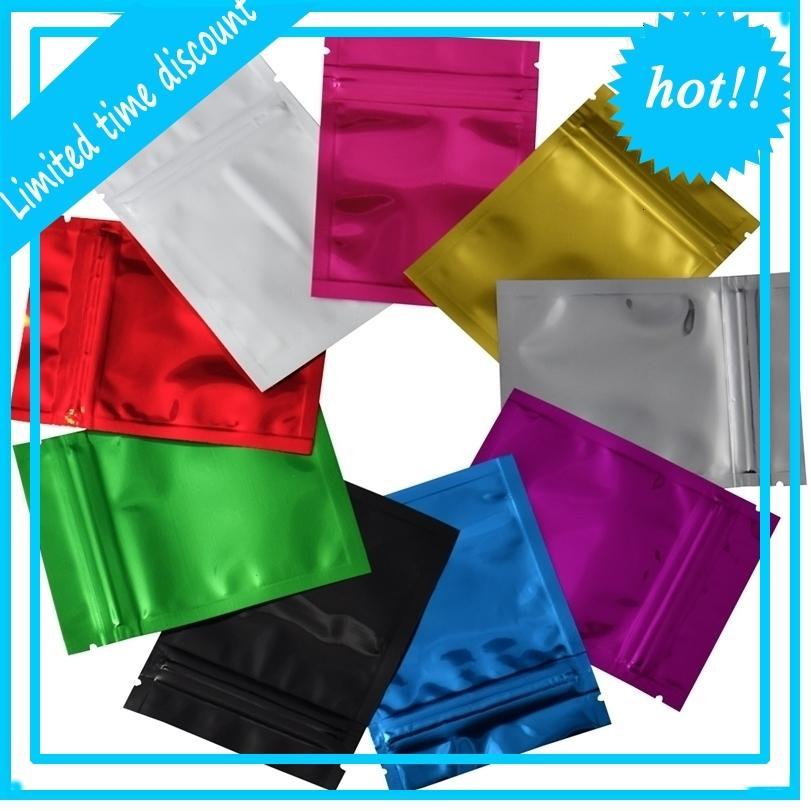 7,5 * 10 см 9 Цветов на молнии Майлар Reclosable Алюминиевая фольга Zip Lock Package Bag Тепло Герметичный пищевой продуктовый образец сумки 100 шт. / Лот