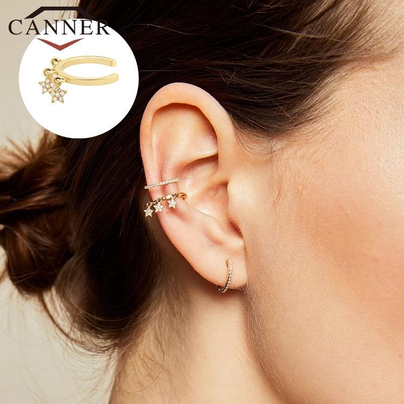 CANNER 1 paire Poiffons 925 Coupes d'oreille Sterling Sterling Sterling sur Pour les femmes Earcuff Pas de piercing faux cartilages boucles d'oreilles