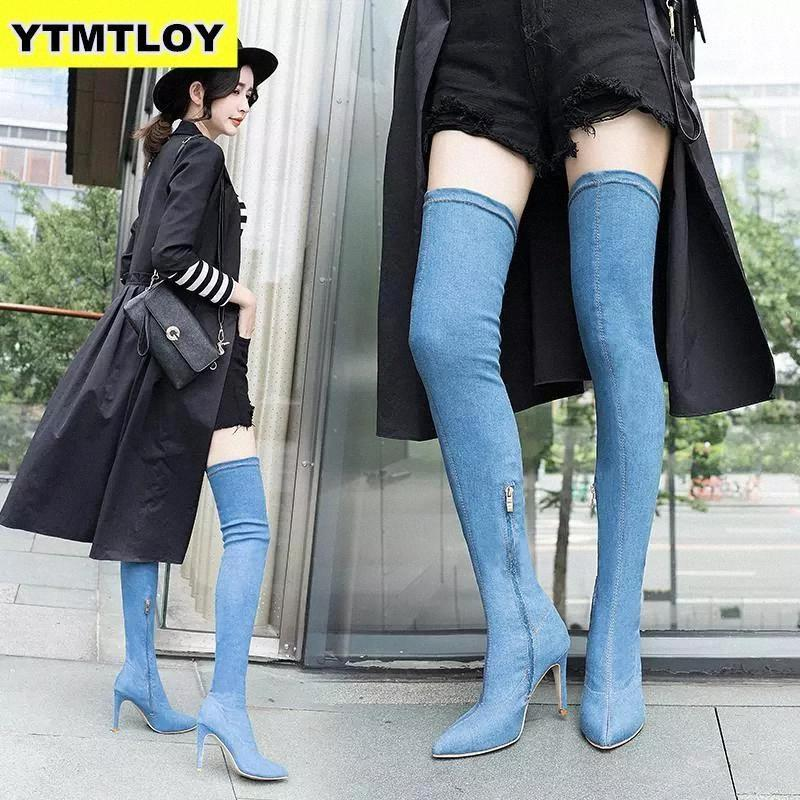 20212019 Fashion Women Boots High Heels Spring Autumn Over The Knee Boots Tight High Stiletto Jeans Denim Rome Long Shoes Size 42 #2N7m