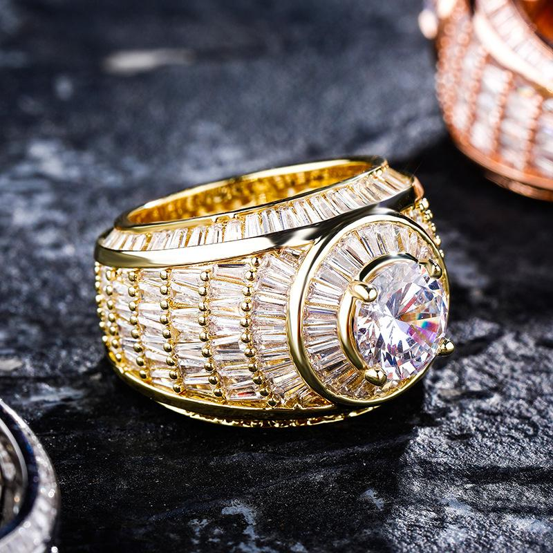 Homens anéis de ouro na moda moda ouro prata cor cluster anéis de luxo bling zircon grande tamanho hip hop anéis presente de jóias