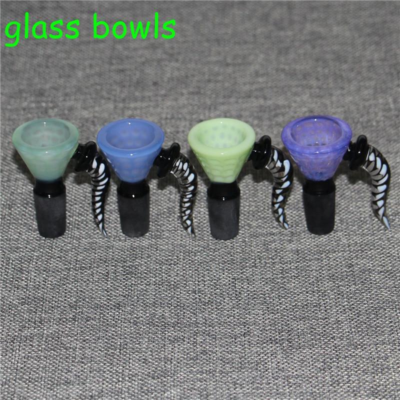 Trichter 14mm 18mm Glasschüsseln für Bongs männliches Gelenk 5 Farben Glasschüssel Raucherpfeife für Glasbongs Öl Rigs Wasserleitungen