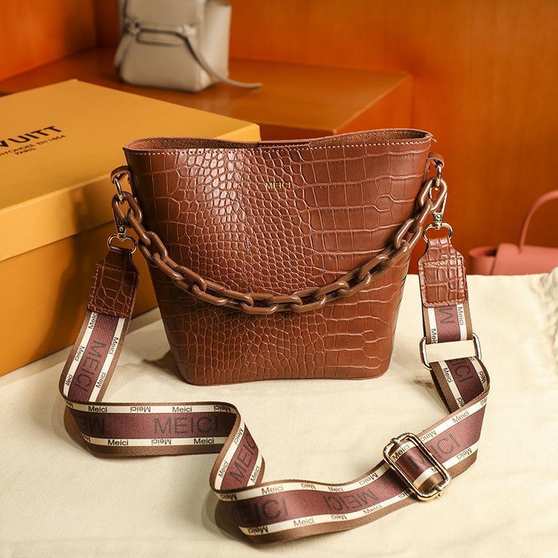 Cross Body Crocodile Pattern Bucket сумка 2021 роскошная текстура простая мода плечо мессенджер цепь женщина