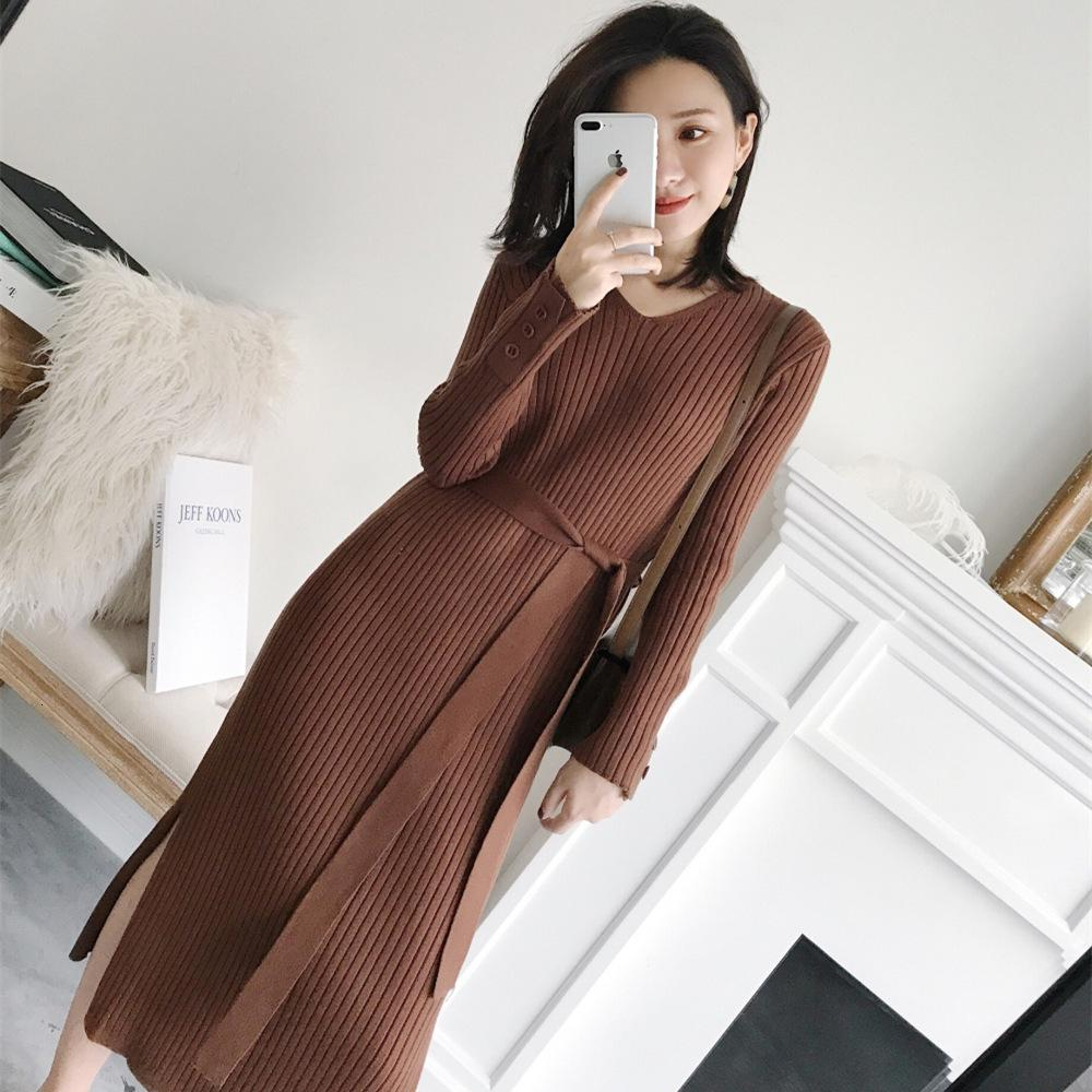 2020 весна новое длительное длительное над коленом сплит шерстяное платье с длинным рукавом среднего дна вязаное платье