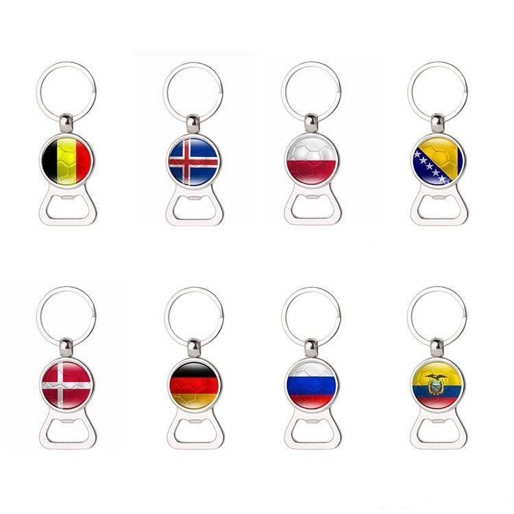 Coupe de la Coupe du Monde Football Key Link Ouvre-bouteille Petit cadeau pour 32 National Flag Metal Key Bague ouvre-bouteille A253