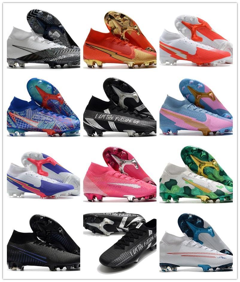 2020 رجل chuteiras mercurial superfly السابع 7 النخبة متماسكة 360 fg cr7 كرة القدم أحذية النساء الاطفال الصبي عالية الكاحل كرة القدم المرابط الأحذية EUR39-45