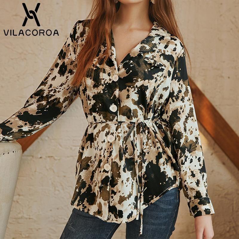 Kadın Bluzlar Gömlek Kadın Baskı Gevşek Uzun Kollu Zarif Bluz Çentikli Tek Göğüslü Dantel-Up Gömlek Sonbahar Casual Kadın Sokak Tops