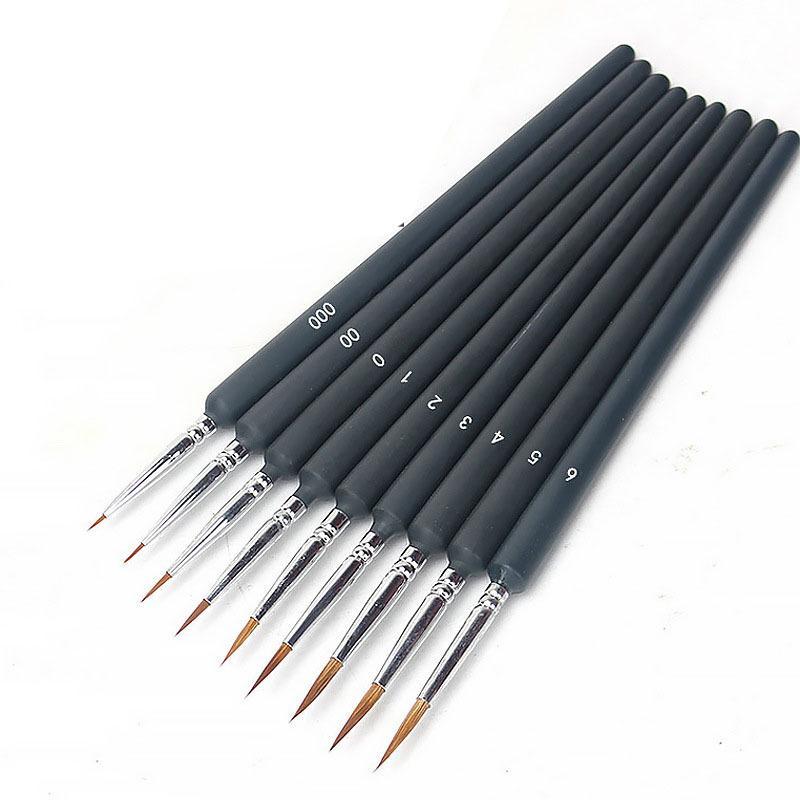 10 teile / satz Miniaturfarbe Bürsten Detail Malereibürste Dünnhaken Linie Stift für Farbe nach Zahlen, Öl, Aquarell JK2101KD
