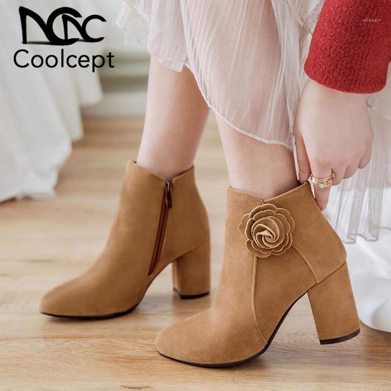 Coolcept brandneue große größen 33-43 frauen schuhe frau stiefel stiefel blume square high heels elegante frauen boots1