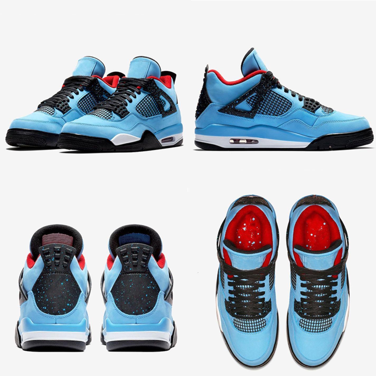 Кактус Джек 4 4s Houston Баскетбольные туфли Университет Синий Varsity Red Black Men Trainer Спортивные кроссовки с коробкой